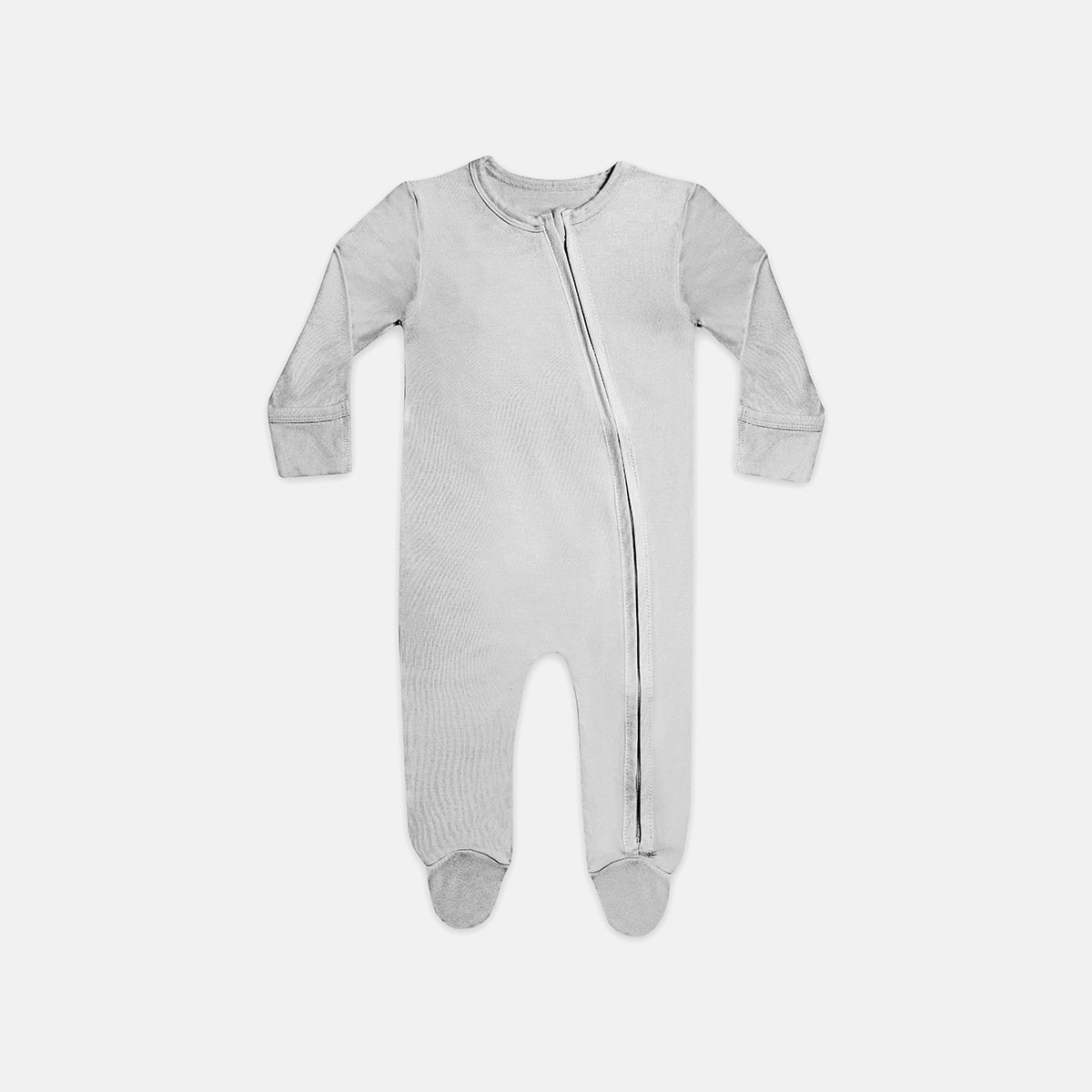 Dreamy Grey Bamboo Zipper Footie