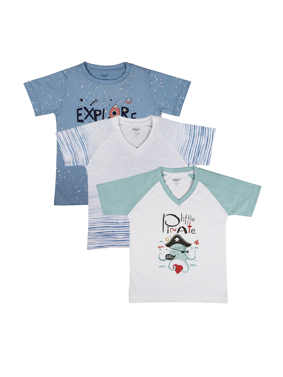 Pack of 3 Blue Hues Soft Jersey Tees