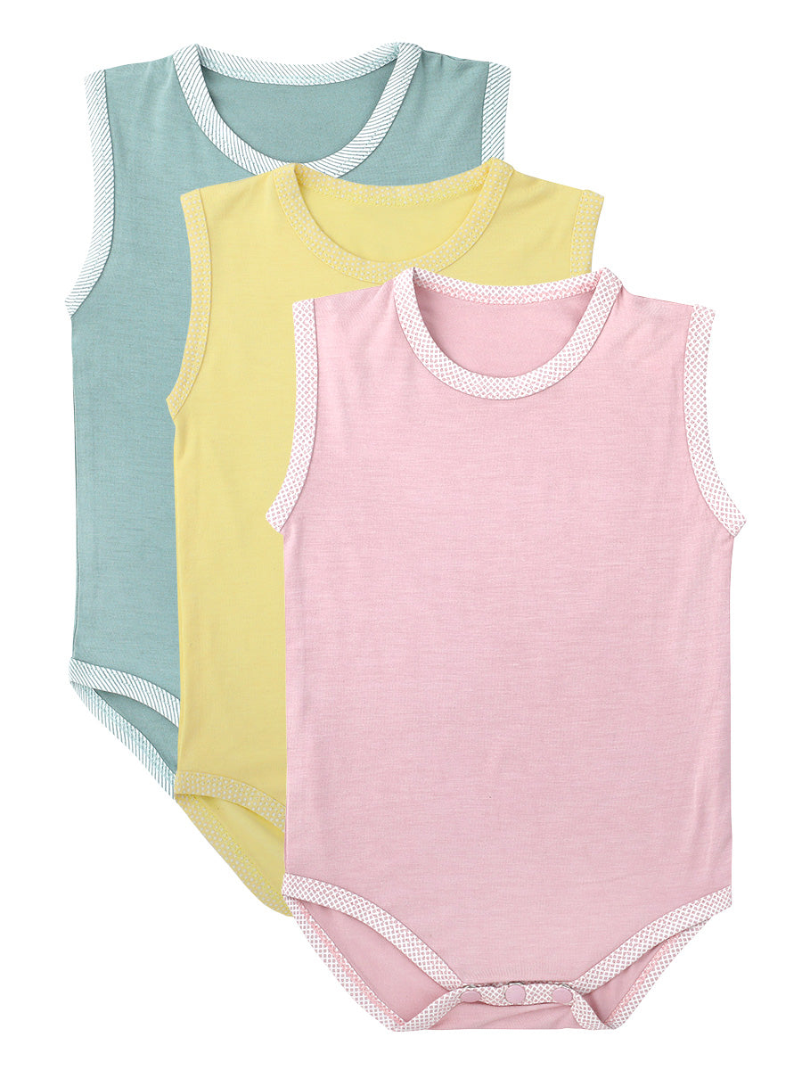 Pack of 3 Sleeveless Soft Bamboo Stretch Onesies