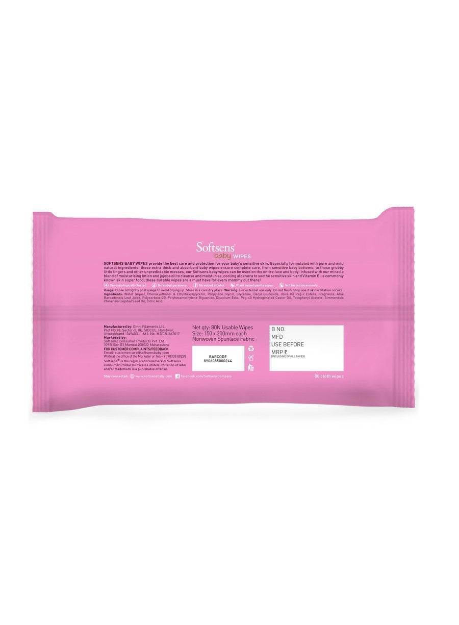 Baby Skin Care Wipes 80's pack of 4-Bath & Body-Softsens