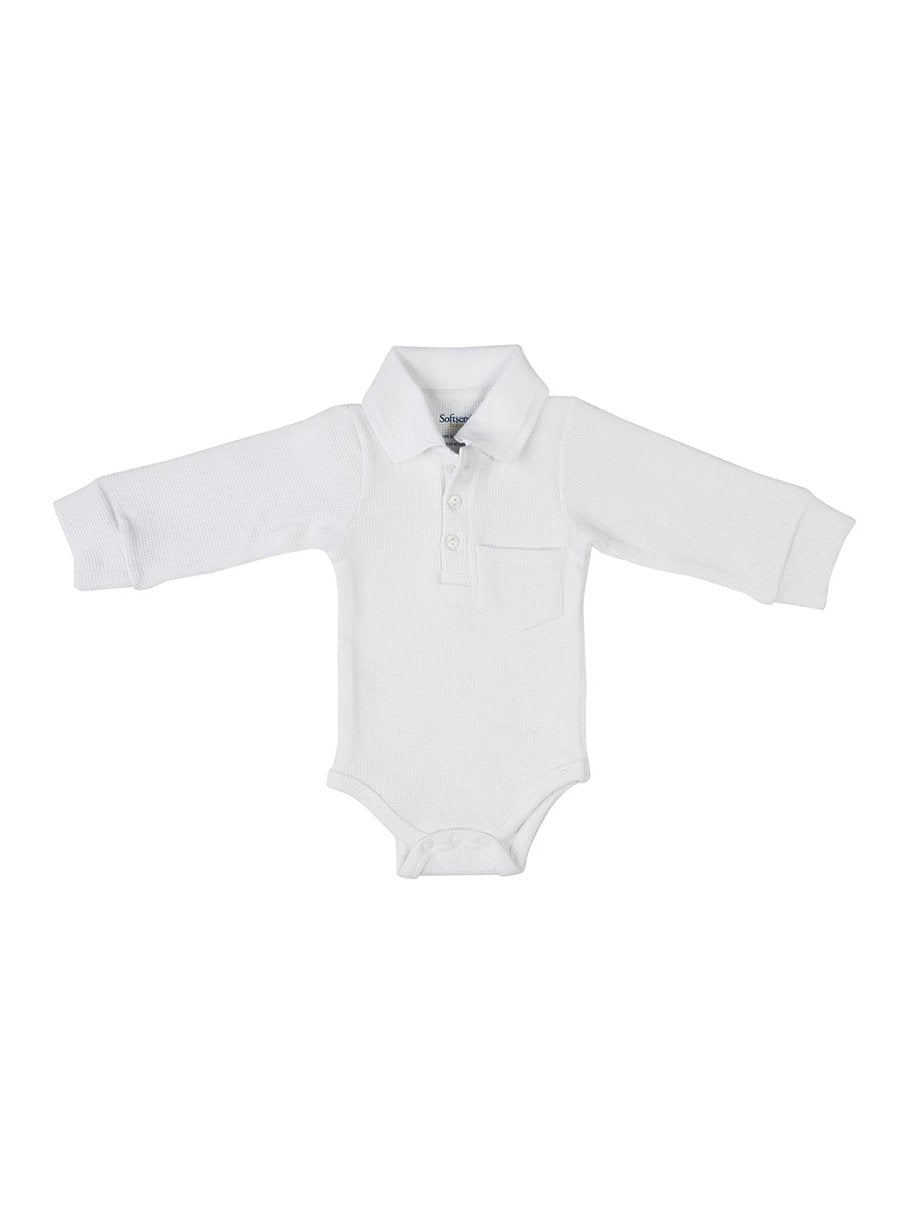 Boss Baby Long Sleeve Textured Bodysuit with Collar & Pocket-Baby Clothing-Softsens
