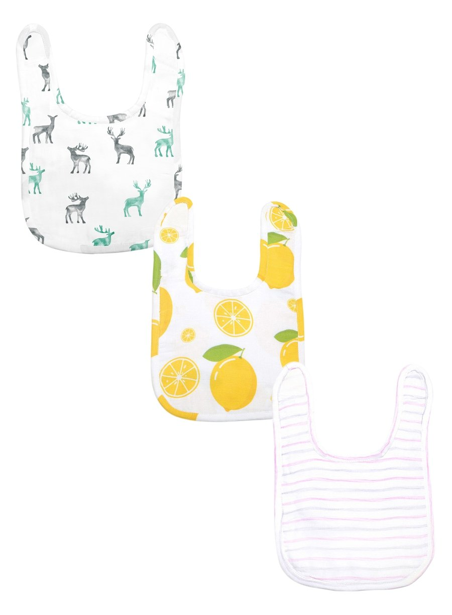 Bright Vibes Pack of 3 Organic Muslin Bibs-Muslin Essentials-Softsens