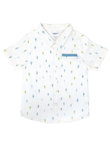 Cactus Crush Brushed Twill Shirt with Pocket detail-Kids Clothing-Softsens