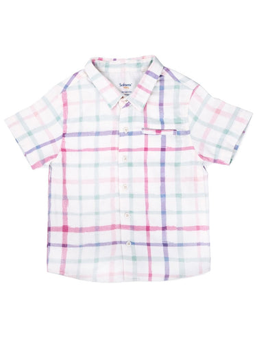 Checkered Watercolour Print Brushed Twill Shirt-Kids Clothing-Softsens