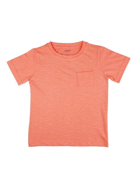 Cool Coral Soft Slub Jersey Tee with Pocket-Kids Clothing-Softsens
