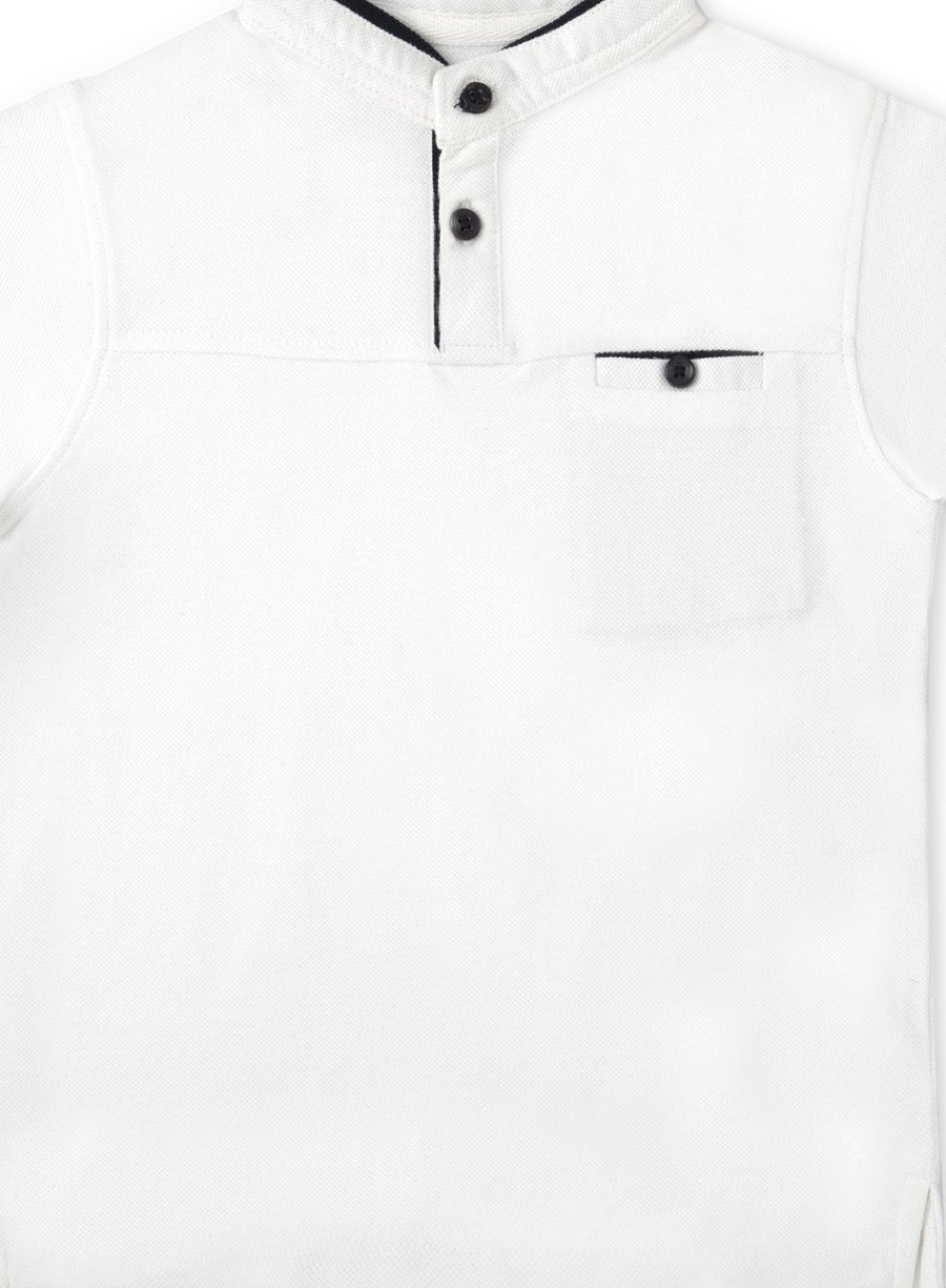 Cool White Pique Polo Tee-Kids Clothing-Softsens