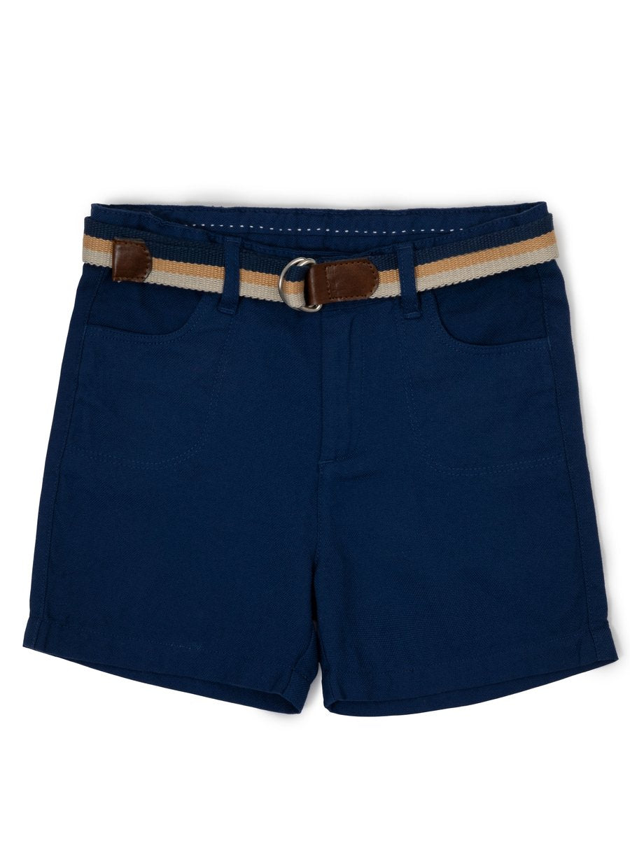 Deep Blue Oxford Shorts with Adjustable Belt-Kids Clothing-Softsens
