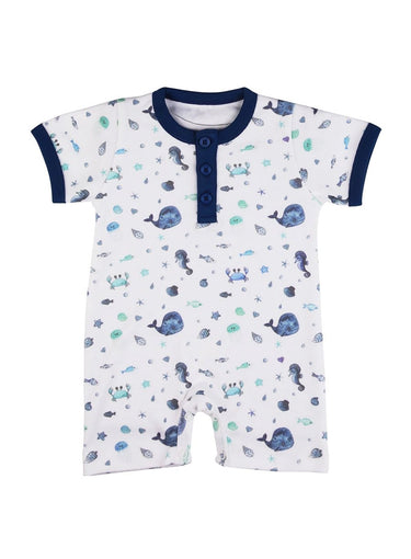 Feeling Fishy Short Sleeve Soft Jersey Baby Romper-Baby Clothing-Softsens