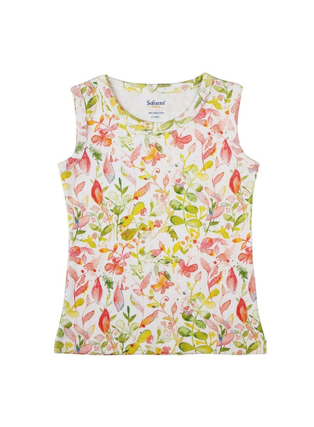 Floral Fun Sleeveless Soft Jersey Tank Top-Kids Clothing-Softsens