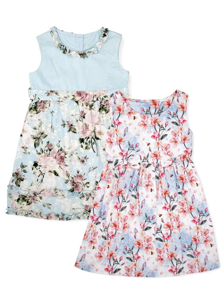 Floral Magic Pack of 2 Organic Cotton Dresses-Kids Clothing-Softsens