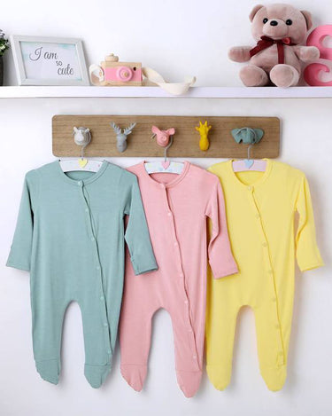 Pack of 3 Long-Sleeved Soft Bamboo Stretch Footies