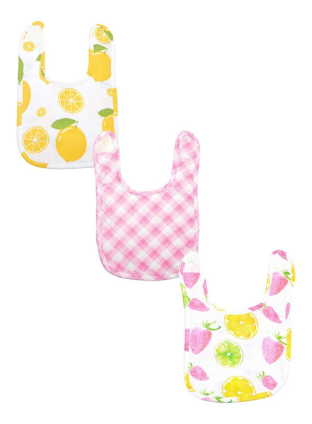 Fruity Fun Pack of 3 Organic Muslin Bibs-Muslin Essentials-Softsens