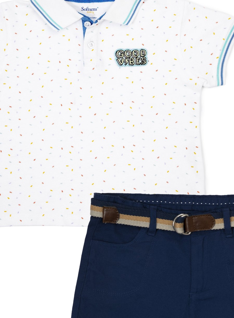 Good Vibes Polo Tee & Shorts Combo Set-Kids Clothing-Softsens