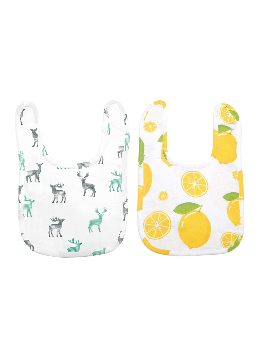 Happy Pair Pack of 2 Organic Muslin Bibs-Muslin Essentials-Softsens