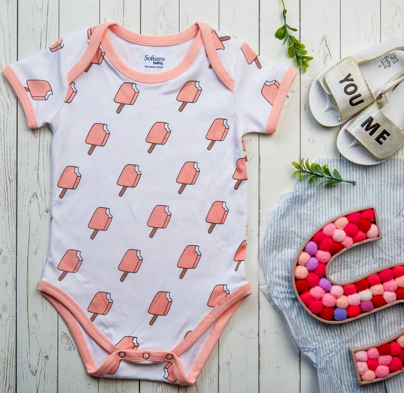Organic Cotton Baby Bodysuit ice cream fun / Ice cream Print, Short Sleeves (0-24 Months)