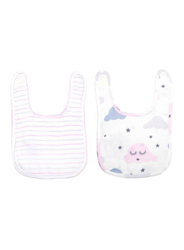 Little Dreamers Pack of 2 Organic Muslin Bibs-Muslin Essentials-Softsens