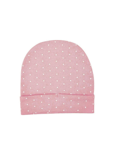 Organic Cotton Baby Cap, Pink & White Polka Dot Print-Baby Clothing-Softsens