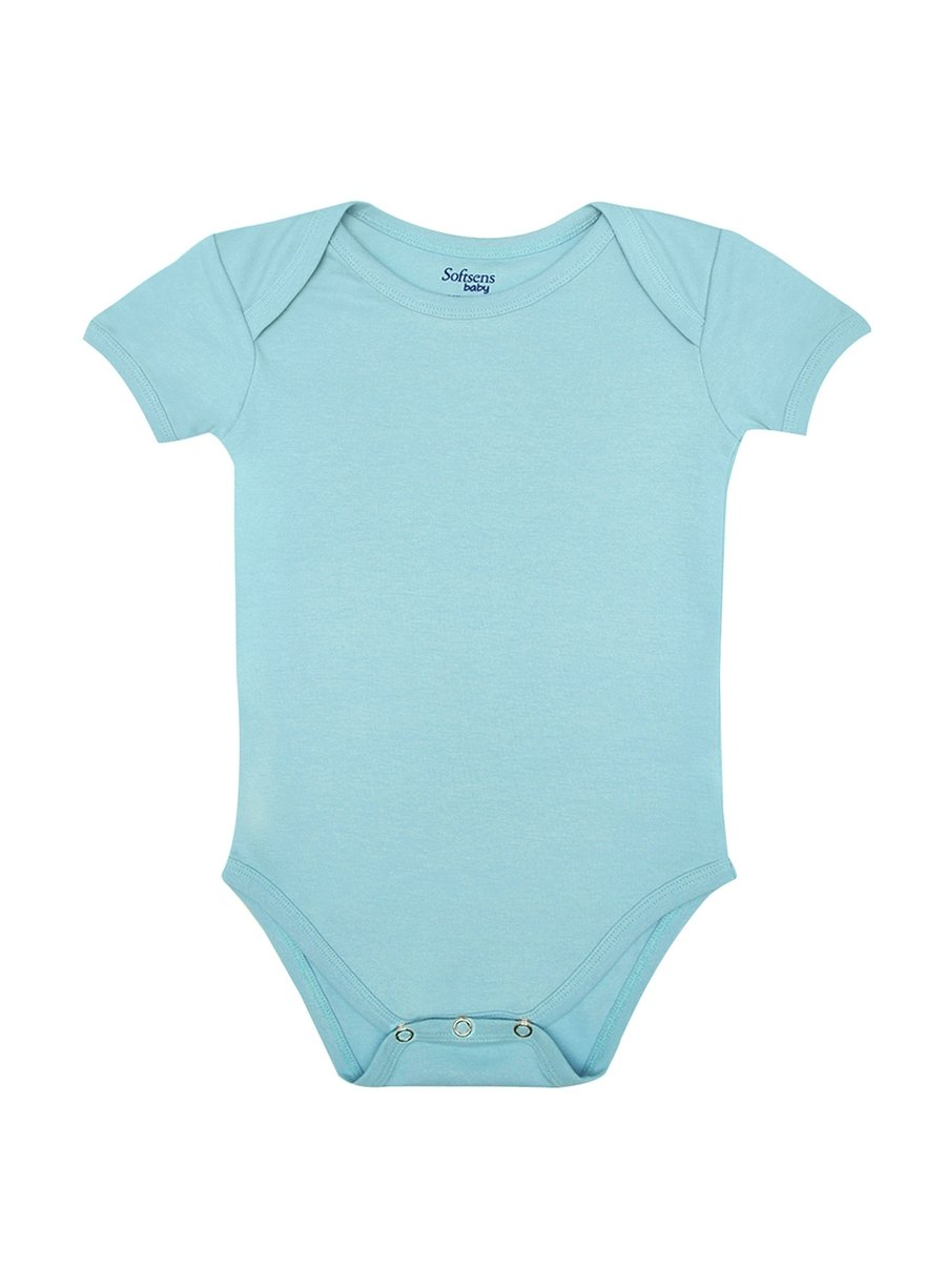 Organic Cotton Bodysuit, Baby Blue Color, Short Sleeves (0-24 months)-Baby Clothing-Softsens