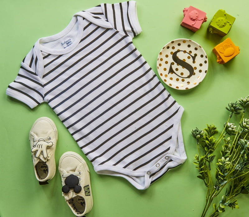 Organic Cotton Bodysuit, Classic Black & White Striped Short Sleeve (0-24 months)