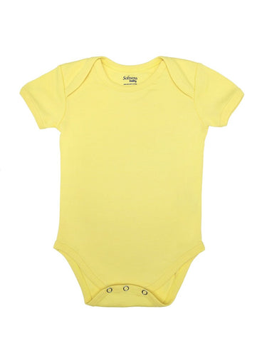 Organic Cotton Bodysuit, Lemon Yellow, Short Sleeves (0-24 months)-Baby Clothing-Softsens