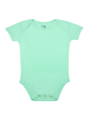Organic Cotton Bodysuit Mint Green Color, Short Sleeves (0-24 months)-Baby Clothing-Softsens