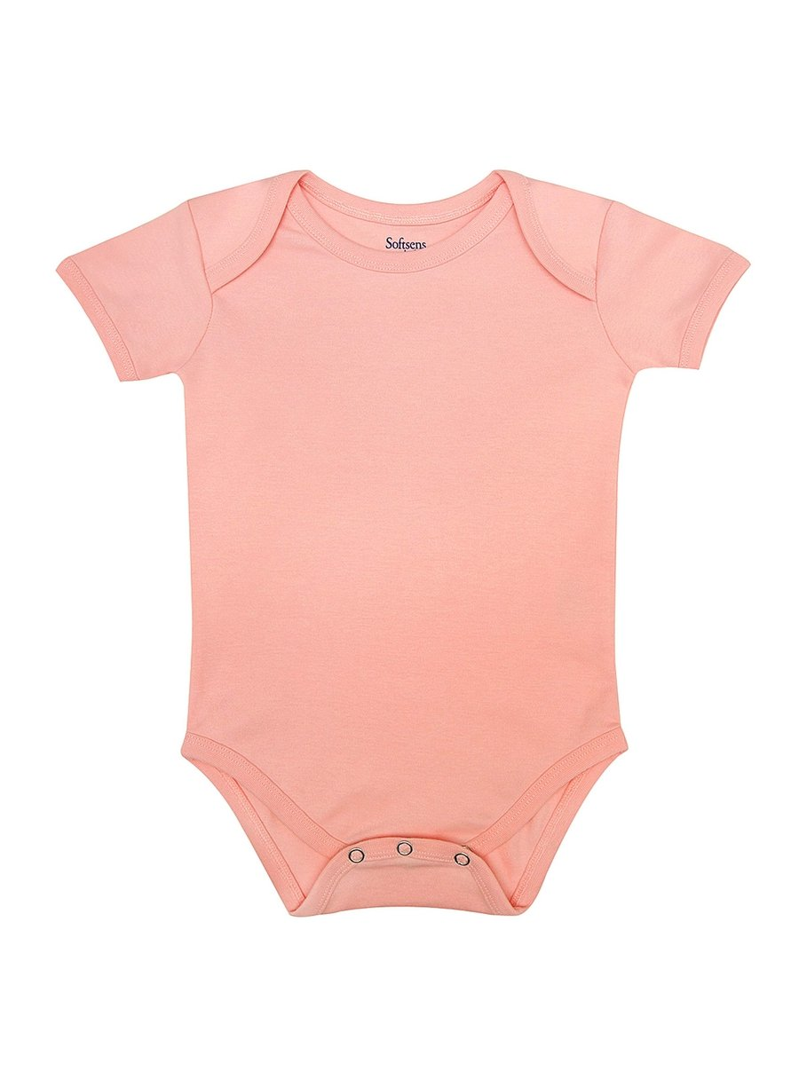 Organic Cotton Bodysuit, Perfectly Pink Print, Short Sleeves (0-24 Months)-Baby Clothing-Softsens