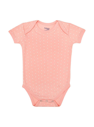 Organic Cotton Bodysuit, Pink & White Polka Dot (0-24 months)-Baby Clothing-Softsens
