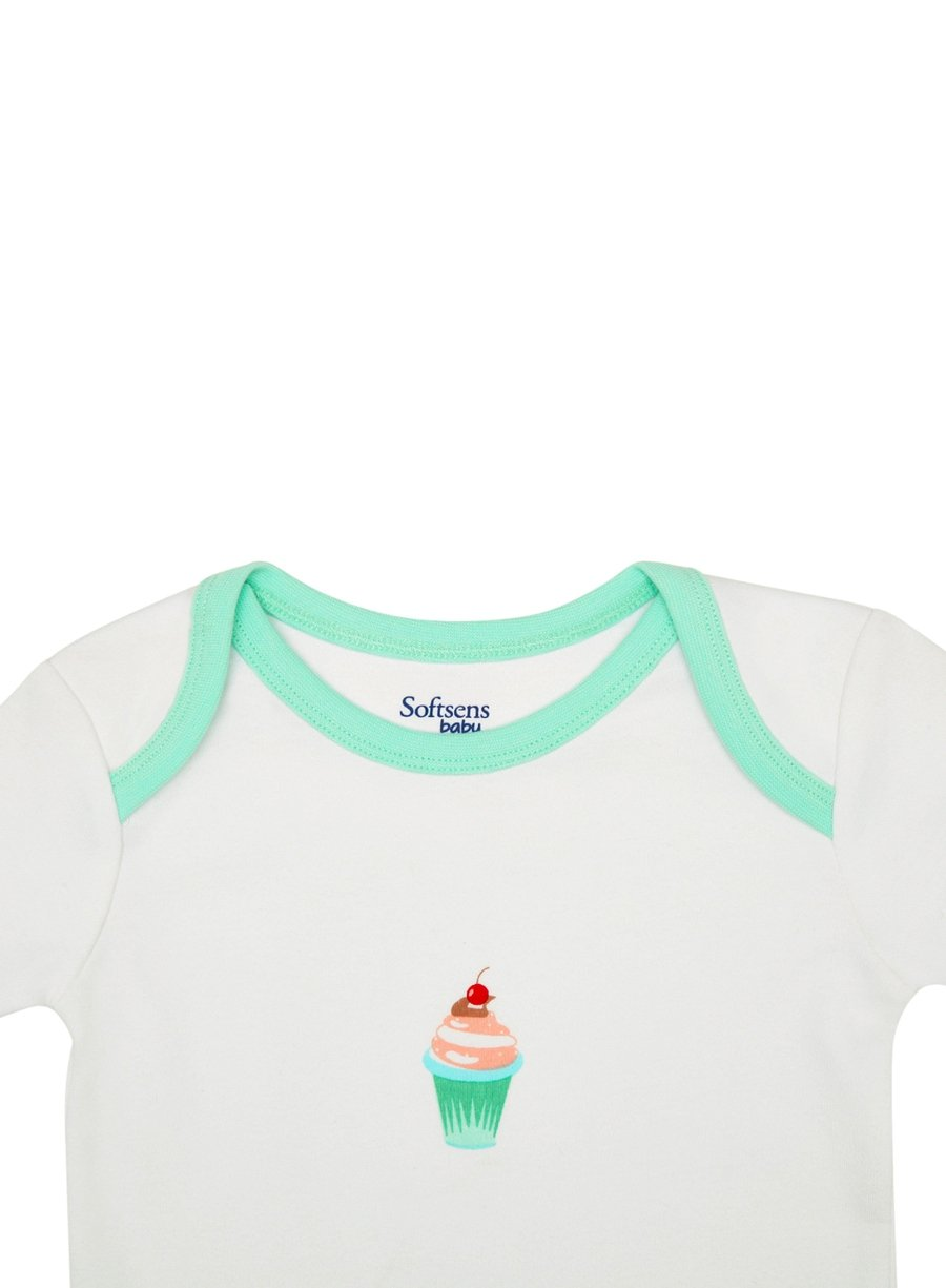 Organic Cotton Bodysuit, White & Mint Cupcake Print, Short Sleeves (0-24 Months)-Baby Clothing-Softsens