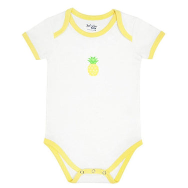Organic Cotton Bodysuit, White with Yellow Piping & Pineapple Chest Print , short sleeves (0-24 months)-Baby Clothing-Softsens