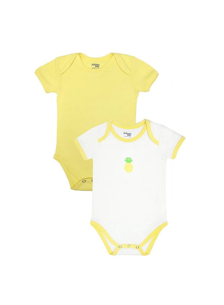 Pack of 2, Organic Cotton Bodysuit, Pineapple Fresh (0-24 months)-Baby Clothing-Softsens