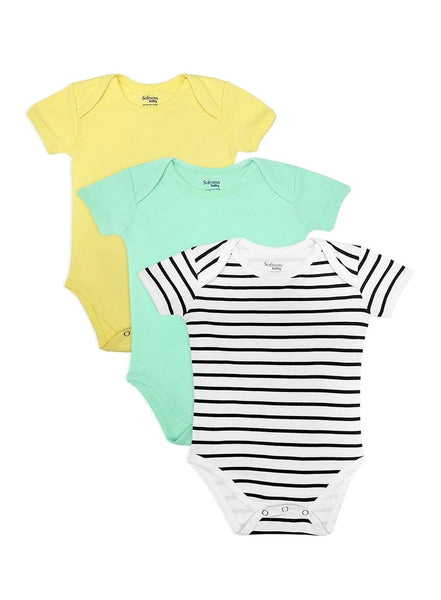 Pack of 3, Organic Cotton Bodysuit, Mint Green, Solid Lemon Yellow & Classic Black and White Stripes (0-24 months)-Baby Clothing-Softsens