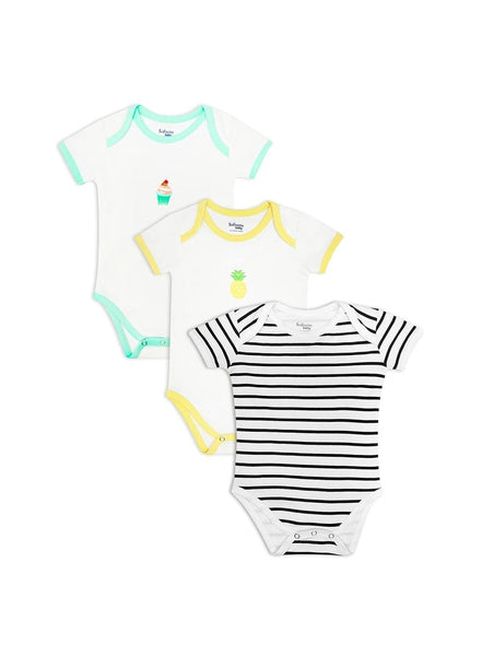 Pack of 3, Pineapple Fresh, Mummy's Cupcake & Classic Black and White Stripes (0-24 months)-Baby Clothing-Softsens