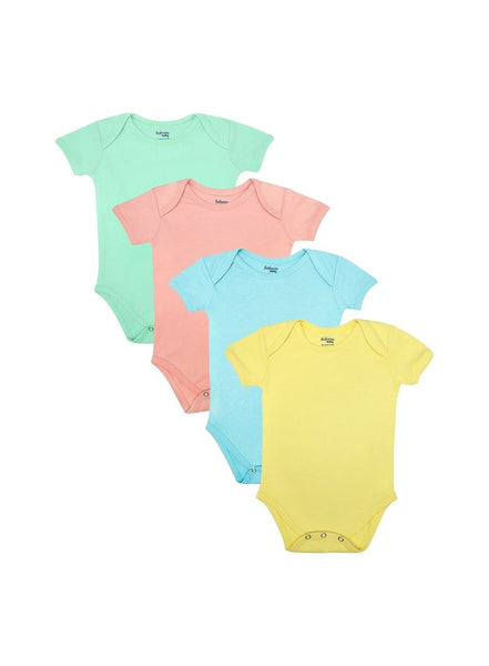 Pack of 4, Organic Cotton Bodysuits, Purely Pastel (0-24 months)-Baby Clothing-Softsens