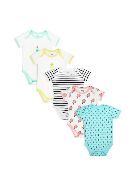 Pack of 5, Organic Cotton Bodysuit (0-24 months)-Baby Clothing-Softsens