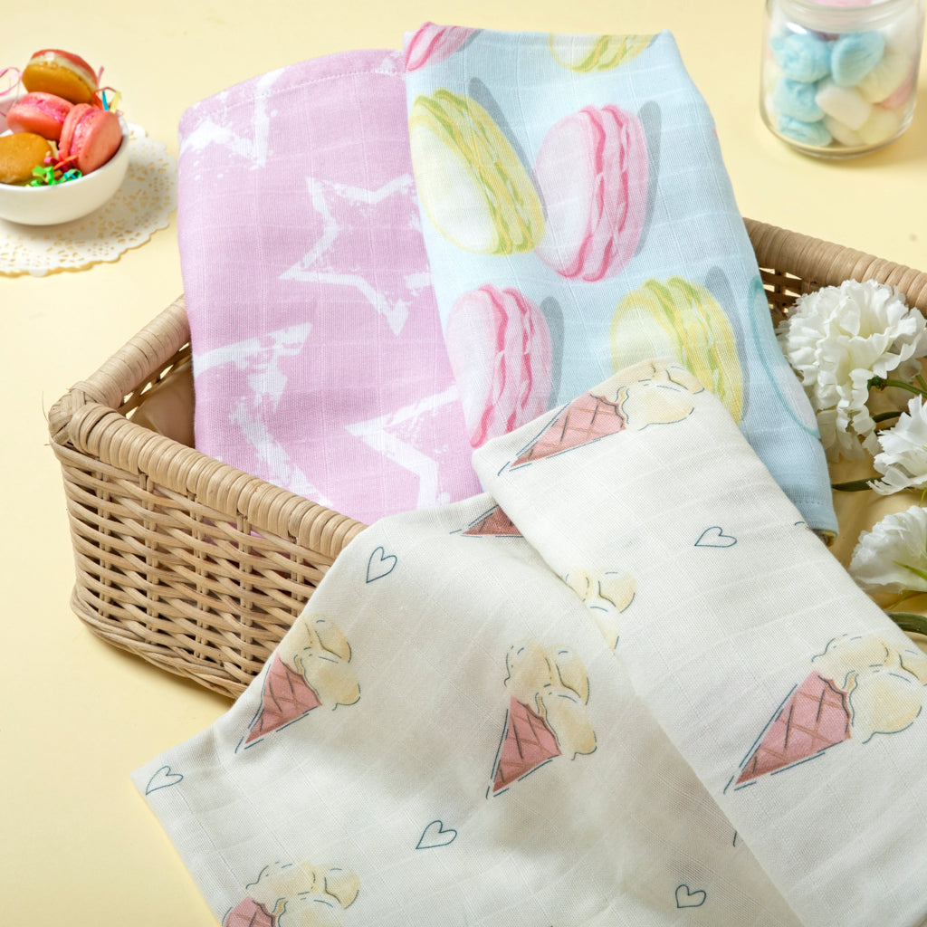 Pastel Magic Pack of 3 Certified Organic Muslin Swaddles