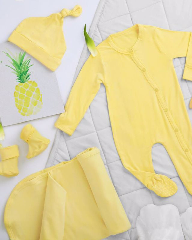 Pineapple Slice Long-Sleeved Soft Bamboo Stretch Footie