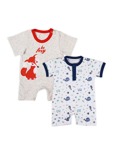 Playtime Pals Pack of 2 Soft Jersey Rompers-Baby Clothing-Softsens