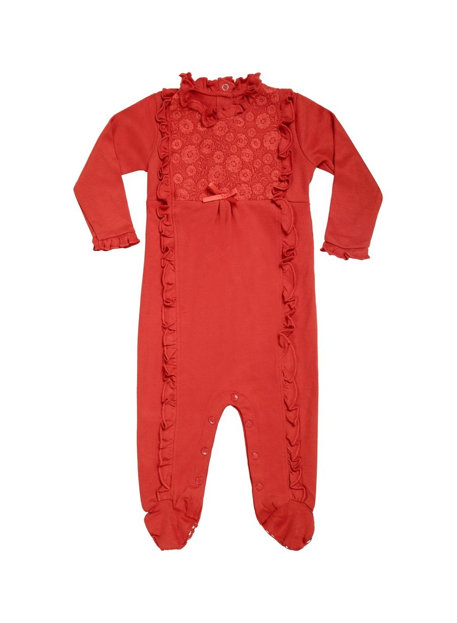 Red Embroidered Long Sleeve Organic Cotton Footie-Baby Clothing-Softsens