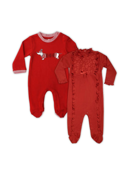 Red to Toe Pack of 2 Long Sleeve Organic Cotton Footies-Baby Clothing-Softsens
