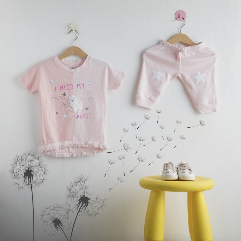 Softsens Baby Short Sleeve Fringe Top & Tights Soft Jersey Set Space Cat