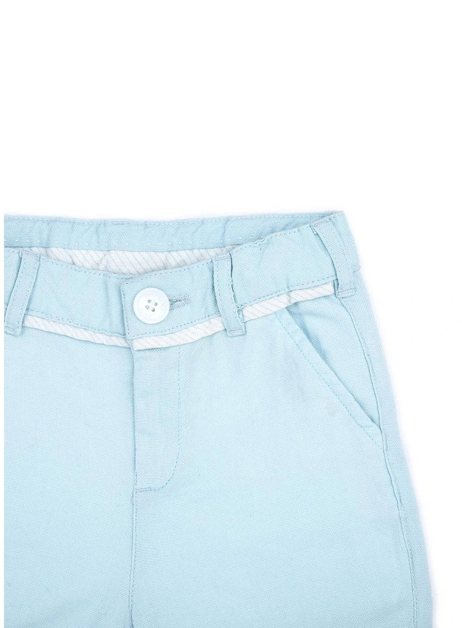 Sky Blue Organic Cotton Oxford Shorts-Baby Clothing-Softsens