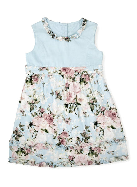 Sky Blue Vintage Floral Dress-Kids Clothing-Softsens