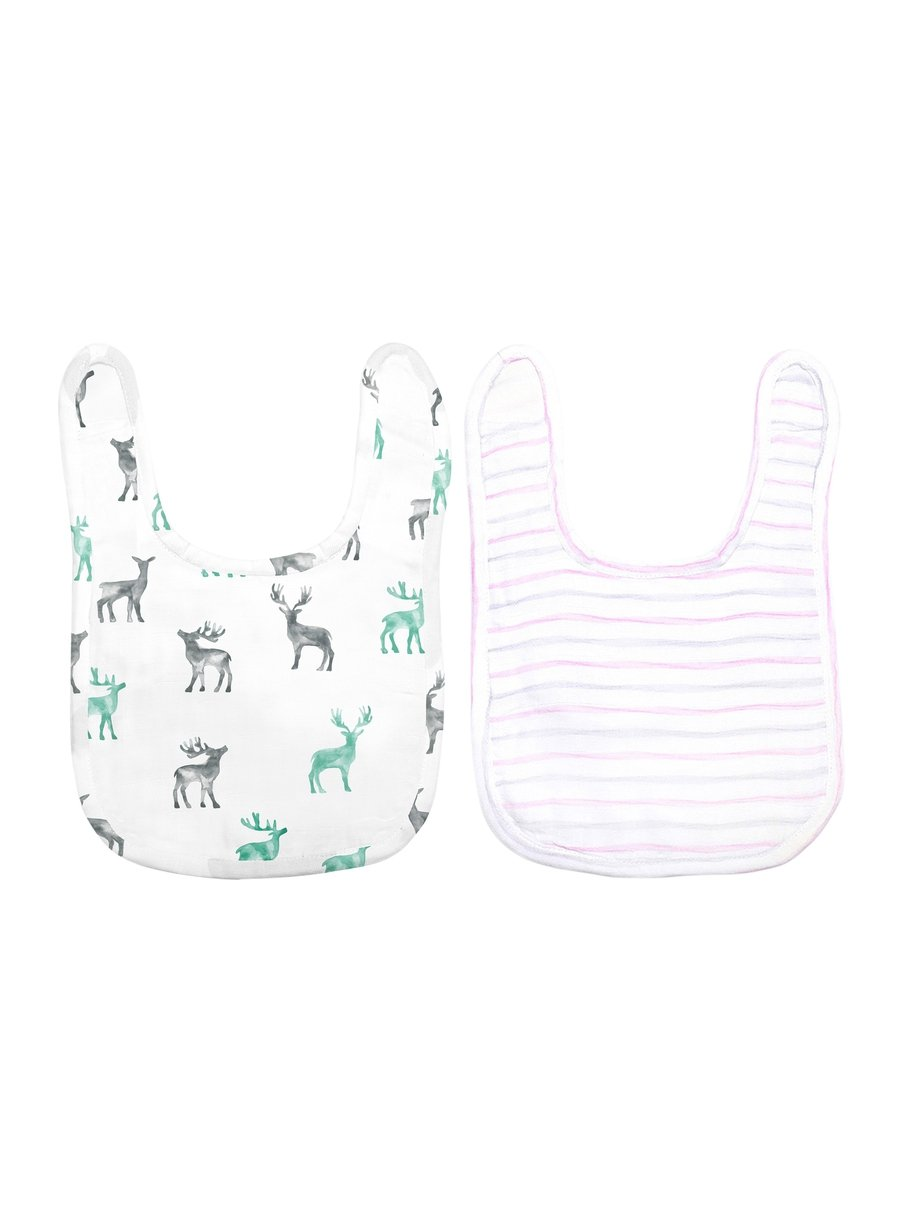 Smiles for Miles Pack of 2 Organic Muslin Bibs-Muslin Essentials-Softsens