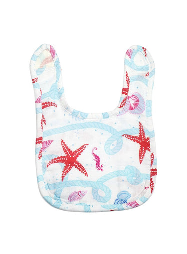 Starfish & Seashells Organic Muslin Bib-Muslin Essentials-Softsens