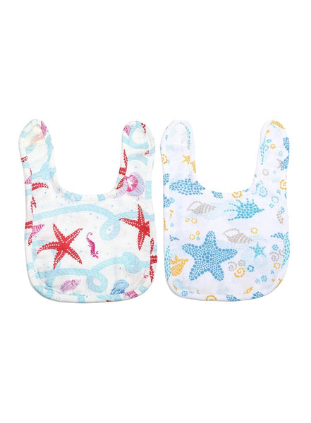 Under the Sea Pack of 2 Organic Muslin Bibs-Muslin Essentials-Softsens