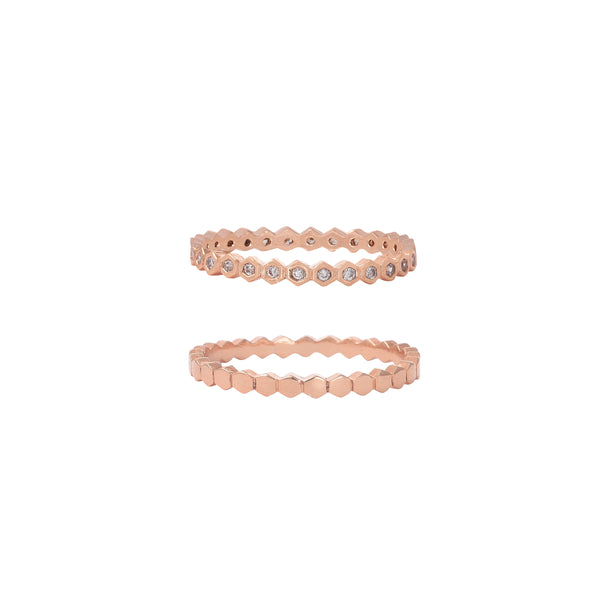 Modern Ring Set Rose Gold Vermeil
