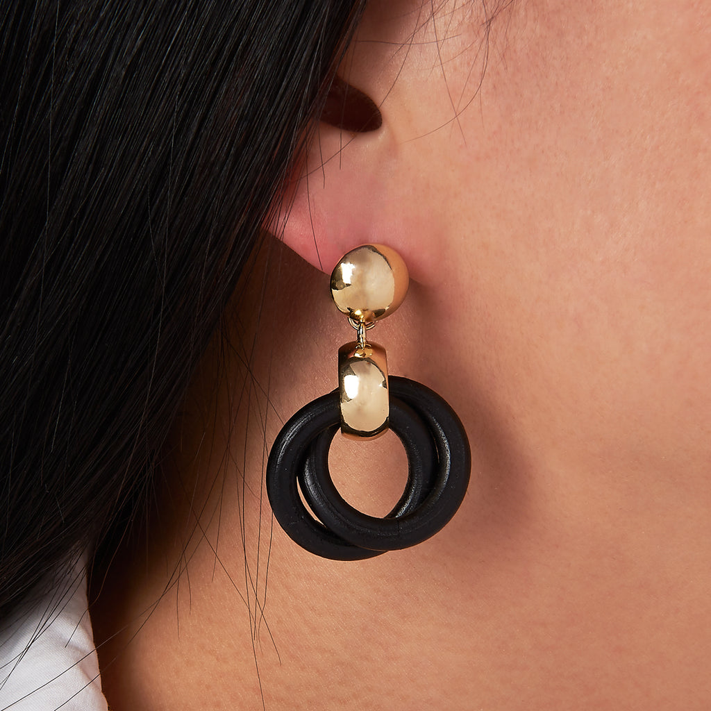 Wooden Entwined Circles Earrings