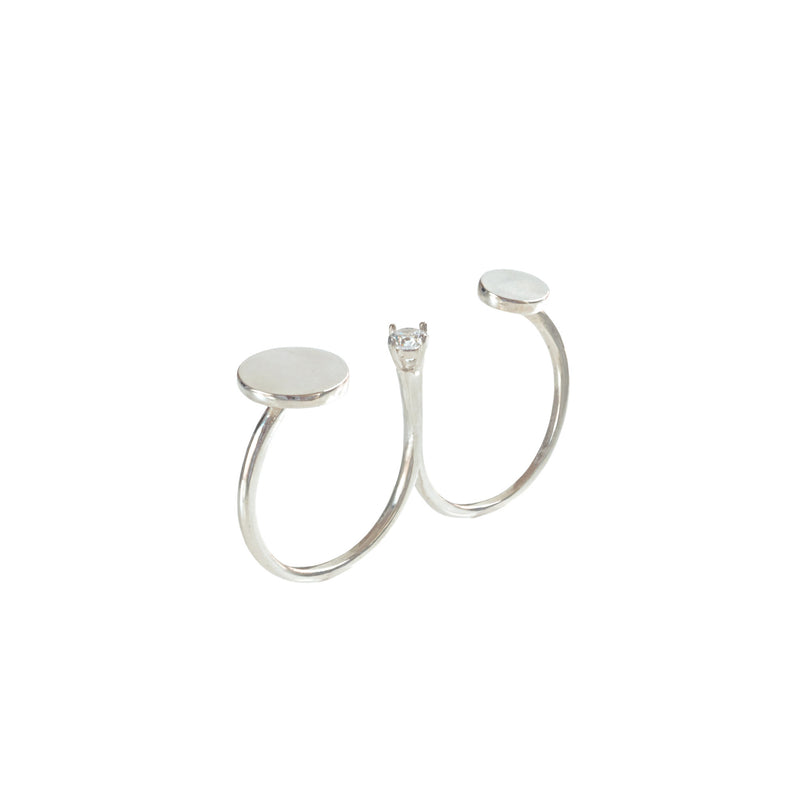 Sterling Silver Disc Double Ring