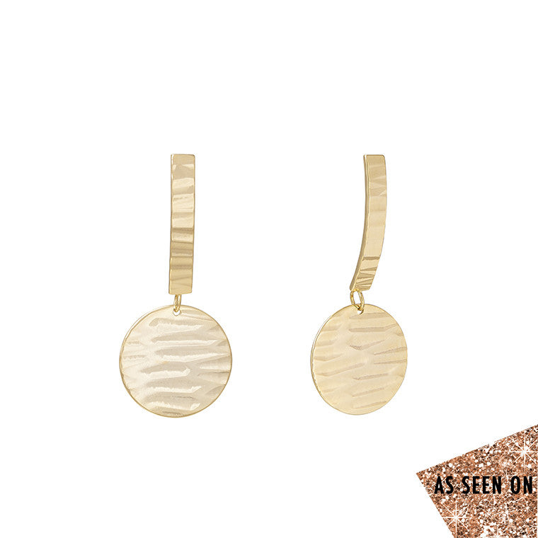 Wavy Line Textured Circle Drop Earrings