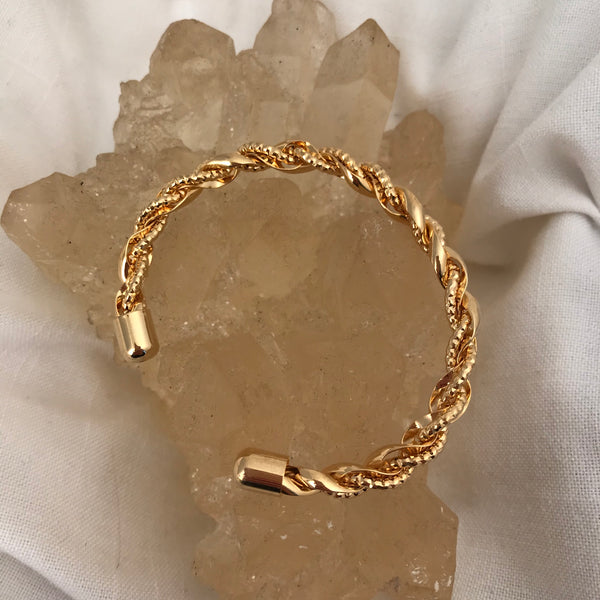 Twisted Chain Gold Cuff